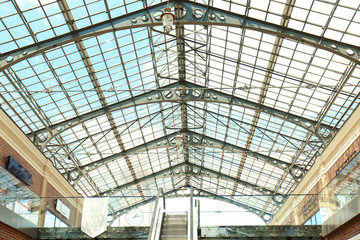 Interior and large roof in Shopping Mall
