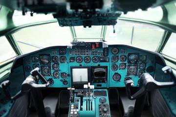 Plane cockpit interior