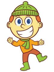 Boy in Winter Clothes Cartoon