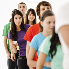 Young Woman Queueing