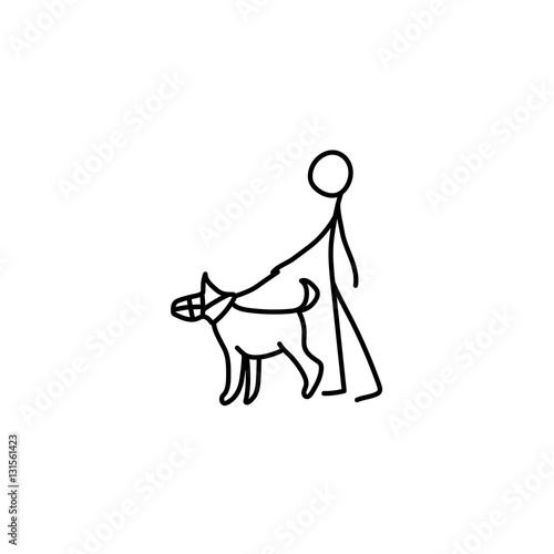 """Stick figure man and dog icon"" Stock image and royalty ..."