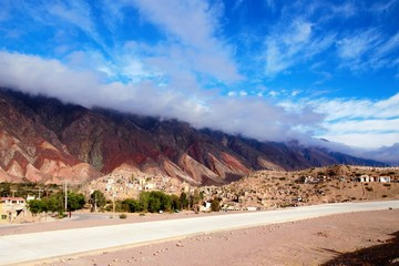 Long shot of the Cerro de los siete colores or the hill of seven colors in Humahuaca in Argentina, South America