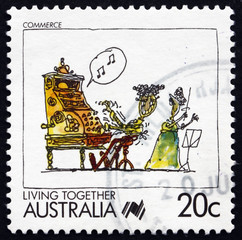 Postage stamp Australia 1988 Commerce, Living Together