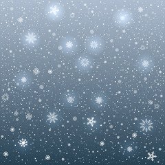 cartoon glowing snowflakes light