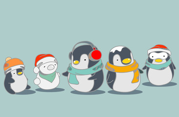 Cute penguins wallpaper in a merry Christmas greetings. Isolated penguins cartoon vector illustration.