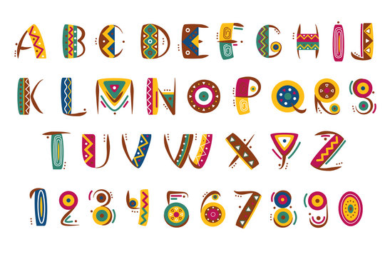 Primitive mexican font. Tribal indian or african letter numbers vector illustration