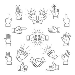 Cartoon outline signs of one hand and two hands. Lined clapping applauding vector icons