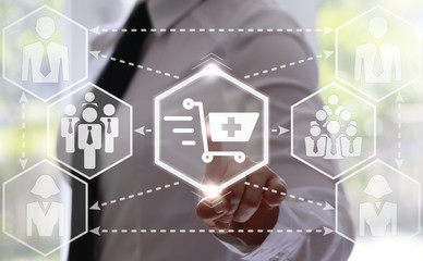 businessman presses moving shopping cart button with a plus. Businesswoman touching icon ride trolley with a plus on touch screen. Business, buy concept. hexagon. add to shopping, online store, shop