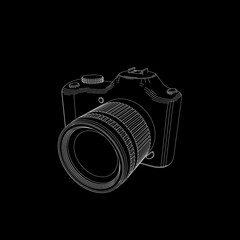 Photo camera.Isolated on black.Vector outline illustration.