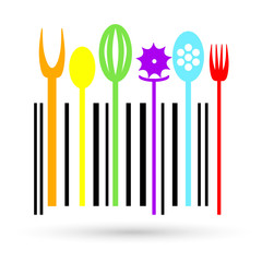 Multi colored Cutlery icon in a shape of barcode.
