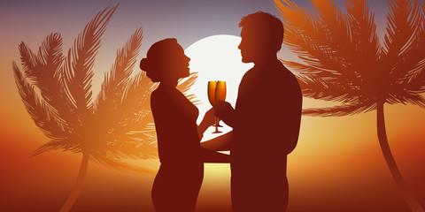 Amoureux - Couple - Palmier - Coucher de soleil