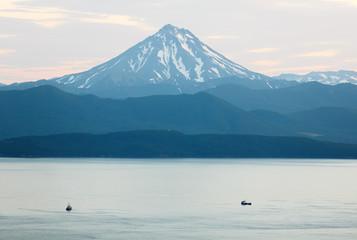 View from Petropavlovsk-Kamchatsky on Avachinskaya Bay and the cone of the volcano Velyuchinsky - Kamchatka, Russia