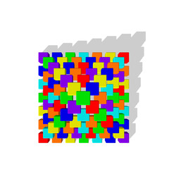 Pyramid from toy building blocks. Vector colorful illustration.T