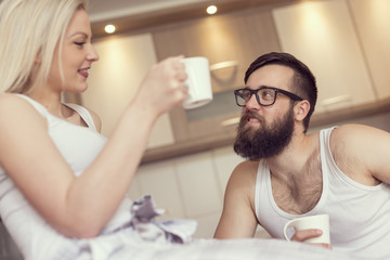 Couple drinking morning coffee