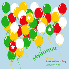 Myanmar Independence Day Patriotic Design. Balloons in  National Colors.Vector Greeting Card.