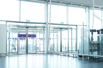 Airport building inside, exit door