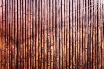 bamboo fence background and bamboo texture in dark tone