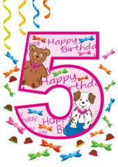 buon compleanno numero cinque rosa