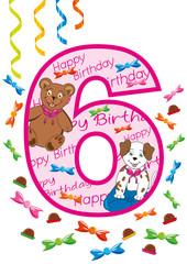 buon compleanno numero sei rosa