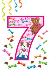 buon compleanno numero sette rosa