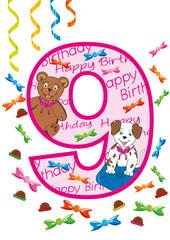 buon compleanno numero nove rosa