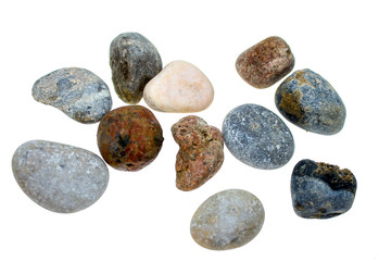 colored stones on a white background