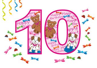 buon compleanno numero dieci rosa