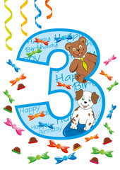 buon compleanno numero tre blu