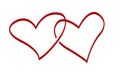vector background with two red hearts
