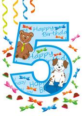 buon compleanno numero cinque blu