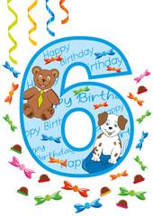 buon compleanno numero sei blu