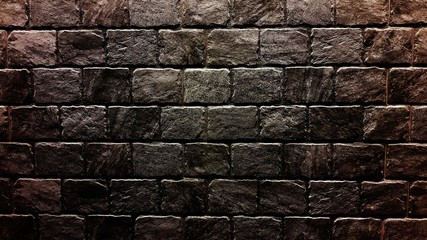 Old brick wall background. Grunge texture. Black wallpaper. Dark tone