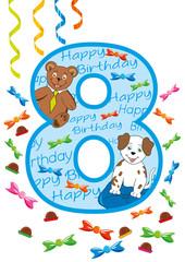 buon compleanno numero otto blu