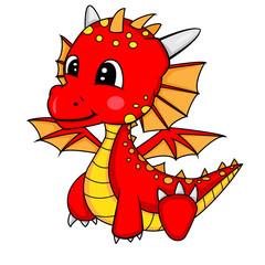 Illustration of Cute Cartoon Baby Dragon.Vector EPS 8.