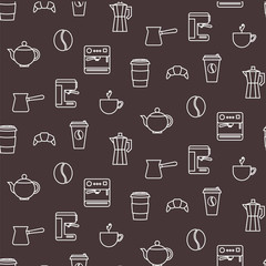 Coffee line icons seamless chocolate brown vector pattern. Barista tools background.