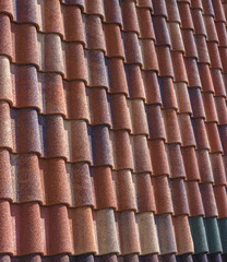 Modern metal-tile roof, roofing colorful samples for advertising