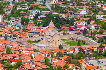 Svetitskhoveli Cathedral. Beautiful view of the old town of Mtskheta from the Zedazeni mountain in Georgia. First capital of Georgia and a UNESCO World Heritage site.