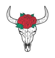 Bull skull with roses native Americans tribal style. Dotted Tattoo blackwork. Vector hand drawn illustration. Boho design