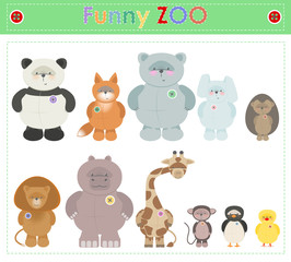Zoo Animals. Funny plush little animals. Vector cartoon