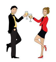 Couple clink glasses outline vector doodle