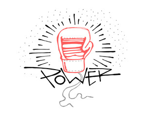 Power word and boxing glove illustration