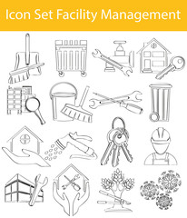 Drawn Doodle Lined Icon Set Facility Management I