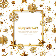 New Year concept. 3d gold stars and snowflakes with square frame on white background with place for text. Vector illustration. Design for for banner, flyer, party invitation, holiday greeting card.