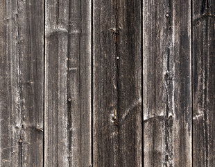 Weathered grey wooden fence texture with nails.