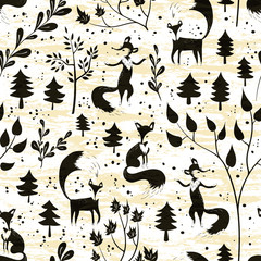 Seamless pattern with fox in winter forest