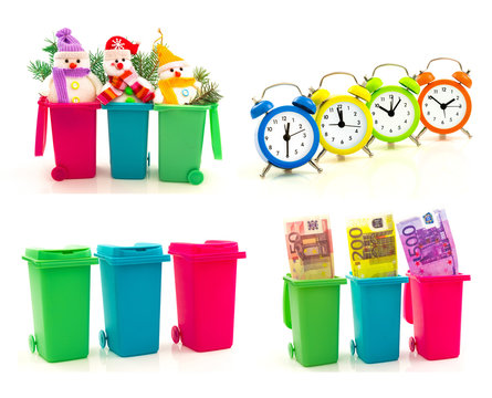 Set of colorful recycle bins with euro money, funny snowmen with