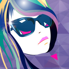 vector girl portrait beauty hair beautiful head