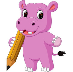 Cute hippo cartoon holding pencil