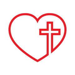Heart with Christian cross inside. Vector illustration.