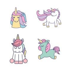 drawing cute set unicorns icon vector illustration design